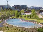 Outdoor swimming pool behind Granary Square