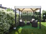 fenced private garden with gazebo - barbeque - and shower