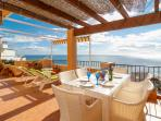Dine on beautiful terrace overlooking the sea with panoramic views so relaxing