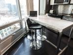 Dining space with comfortable bar stools