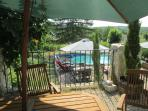 View of pool deck from Farmhouse front courtyard