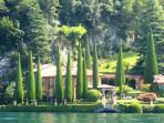 View of Villa La Cassinella from one of the many ferries which traverse Lake Como in season