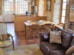 Large 60m2/650ft2 living room view. Bright & sunny & full of period charm + extra chairs for dining.