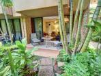 Private lanai in a  lush tropical setting