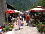 Lively daily organic fruit, veg and flower market just outside the town walls