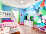 Delightful Disney themed Kids room with bunk beds,  46' Smart LED TV, XBOX One, games, toys & more!