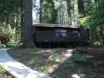 The Little Pine cabin is nestled in tall pines behind the Big Pine cabin