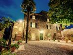 The clear night sky, right in the heart of Tuscany. Typical tuscan farm house, sorrounded by vines.