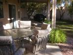 Large patio with gas bbq, Large table with 6 chairs