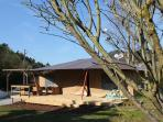 Spring is in the air! Front view Casa Ohashi, 6 persons lodge tent.