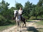 horse riding along countryside paths via riding school in Arbanassi