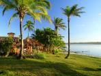 Casa Pescador with its outdoor dining gazebo overlooking lagoon