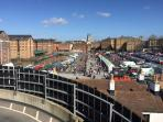 view of the cathedral and one of the events being held at the Gloucester docks