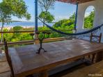 Large dining table antique hardwoods-meals with a view !