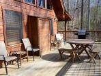 Large Deck with Gas Grill, table and bench and plenty of room for enjoying the awesome sunset