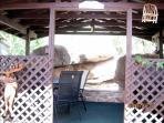 Back door gazebo in the rocks with table and grill