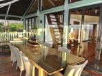 Spacious outdoor patio features a table that seats 8.  A gorgeous lagoon view while you eat!