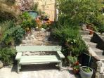 patio garden and barbecue area