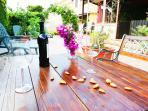 tavolino gazebo, con panche, fantastico di sera