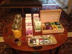 Breakfast:  a wide choice of ORGANIC teas and coffees, & chocolate!