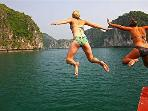 boats and beach acomadation HALONG BAY IBIZA CRUISE LEADING HALONG BAY CRUISE