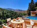 view from terrace towards the White Mountains with the pool and BBQ in the background