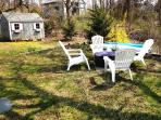 Fire pit and back yard