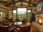 Living room with stunning views of the Spanish Peaks