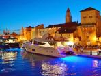 Trogir at night(a lots of boates and yachtes on the docks