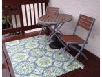 New Bistro Table and Chairs with Outdoor Rug on Balcony