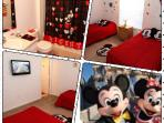 Mickey room is just prefect for the Kids. Kids will have their own TV and their own bathroom.