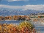 Yellowstone River and Crazy Mountains in the fall