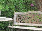 seating in the garden of Alice's Loft