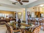Dining room has a circular view to kitchen, 2nd bedroom, living room and lanai.