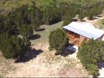 Ariel view of Dream Away Cabin.  A secluded home in the woods.