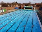 Public Domain Image.  Charlton Lido 50m public heated 1ll year  outdoor pool. 20-25 minute walk