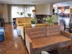 The comfortable lounge as part of the bar and restaurant; you can also enjoy drinks on the terrace.