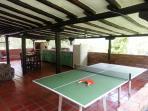 Mesa de ping pong en áreas comunes de cabaña para 11 pax