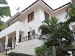 Front elevation view of #3 Tropical Woods duplex bungalow in North Goa