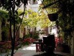 courtyard with green pergolla