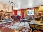 Toasty Fireplace, great lighting, Large TV, Lots of seating!!