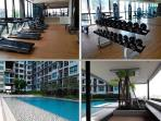 Well-equipped fitness center, swimming pool, and sunbathe area