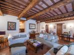 wooden beams and exposed brick