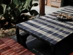 Detail of outdoor dining table