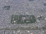 2 green areas, Royal palace & Nijo castle of world heritage. Our house is in between this two green.