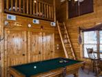 Game Room with Pool Table and sleeping loft