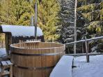 Hot tub in the winter snow