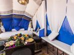 Terrace breakfast served under the berber tent
