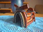 Handcraft of traditional dalmatian donkey saddle