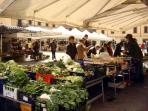great market on Tuesdays and Saturdays, 2 mins walk